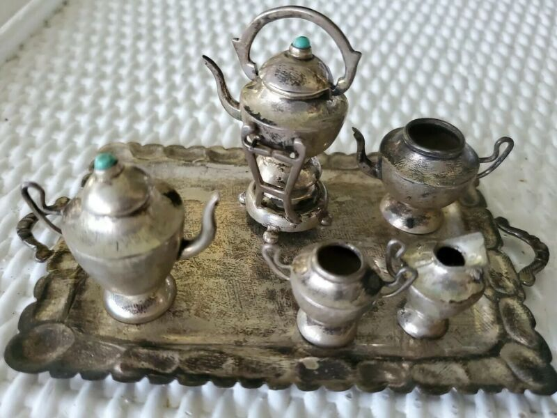 Antique Doll Sterling Silver Miniature TEA SET, Dollhouse Diorama