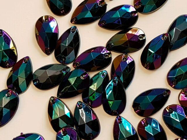 Sew On Stitch black blue AB 10x Jewel 18mm GEM CRYSTAL RHINESTONE trim DANCE