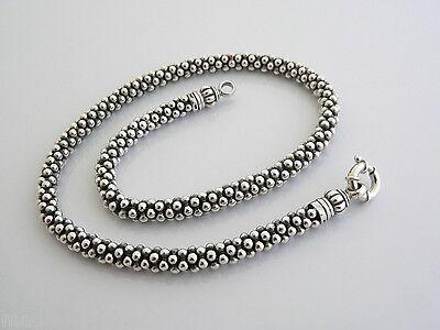 - Lagos Caviar Silver Multi Bead Link Necklace Pendant Hook Chain Rare Heavy