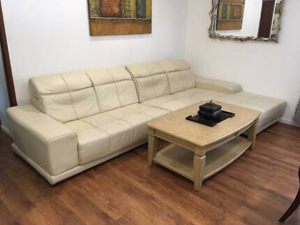 Full Leather 4 5 Seater Luxury Corner Couch With Chaise