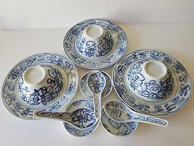 12 PIECES OF DOUBLE HAPPINESS PATTERN BLUE/ WHITE PORCELAIN CHINESE DISHES