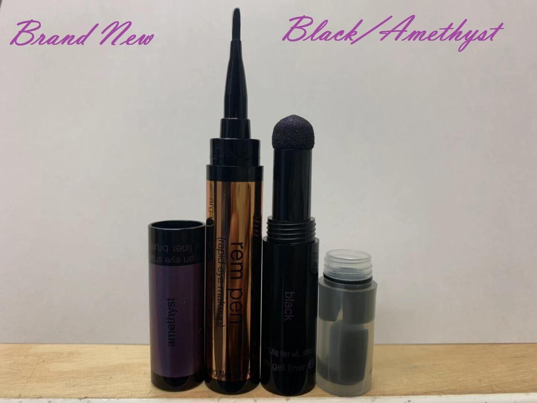 Josie Maran REM Pen / Crayon 2 in 1 Argan Eye Shadow & Gel Liner(Black/Amethyst) Eye Shadow & Liner Combination