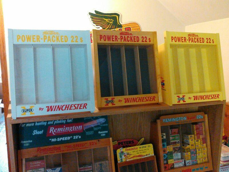 Winchester 22 ammo boxes,shotgun shell boxes, blasting cap tins display case.