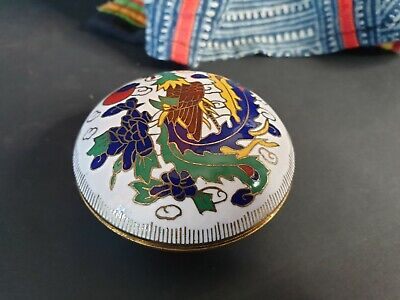 Old Chinese White Cloisonné Enamel Vanity Box …beautiful collection and display