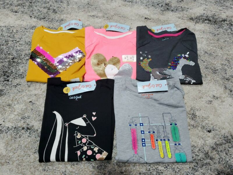 Cat & Jack Girls Clothes Lot Size 6-6x T-Shirts Flip Sequin Kid Top Sparkle NWT