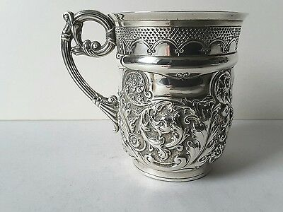 ATTRACTIVE ANTIQUE SOLID SILVER EMBOSSED & CHASED 1/2 PINT MUG. LONDON 1893.