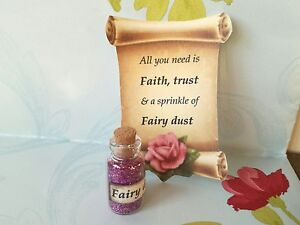 bottle of fairy dust, fairy scroll and charm