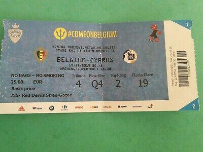 Ticket : Belgium - Cyprus 19-11-2019 Qualifications Euro 2020