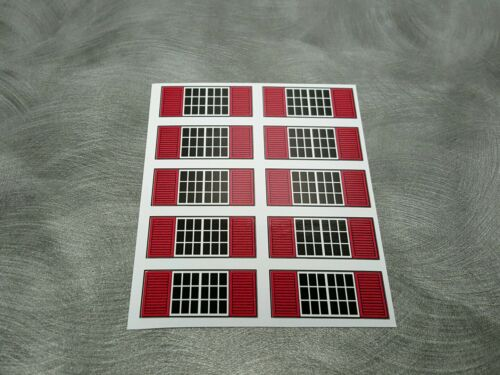 dcp Farm custom Machine Shed 1/64 window stickers with red shutters (10)