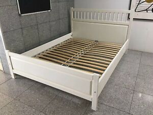 Creamy color queen bed frame