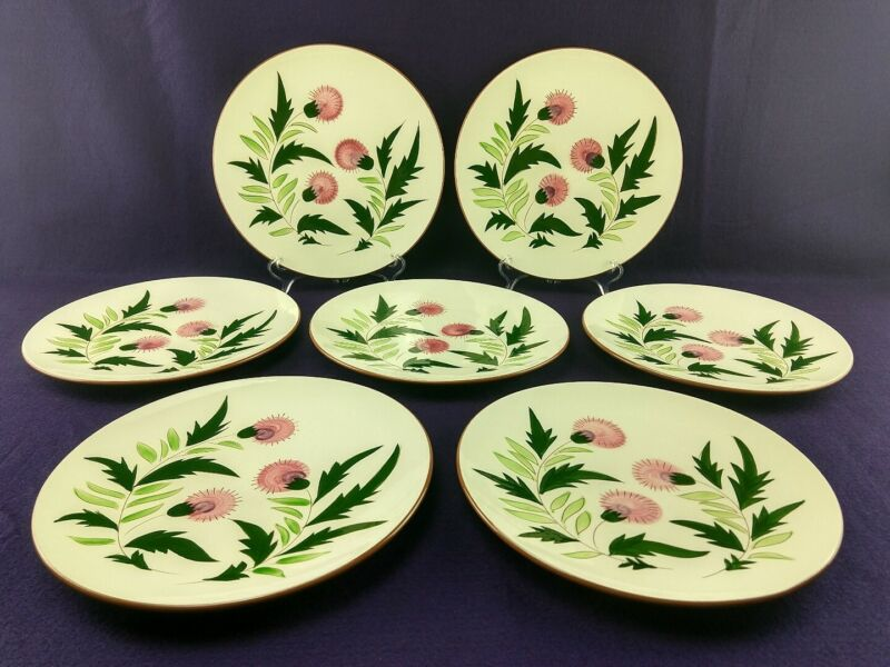 Stangl Pottery THISTLE (7) Dinner Plates No. 3847 (Pink) VTG Dinnerware USA