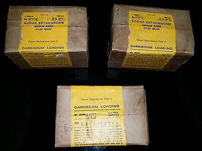 lot of 3 sealed rolls 70mm Kodak Ektachrome Infrared Aero film 8443 (expired)
