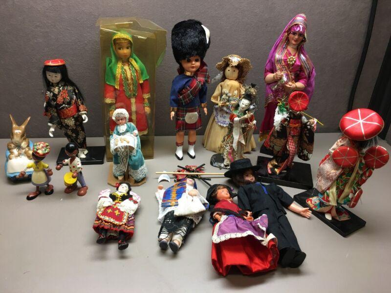 Lot of 16 International Dolls Figurines Many Broken Corn Husk Asian Middle East