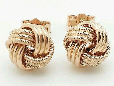 14K Italian Rose Gold Love Knot Stud Earrings Italy 9Mm