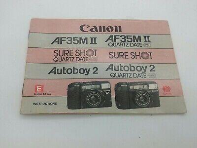 Original instruction manual for CANON AF35M II SURE SHOT camera