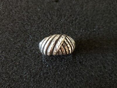 Sterling Silver 925 Ladies Ring Chunky Modernist Size 5.5