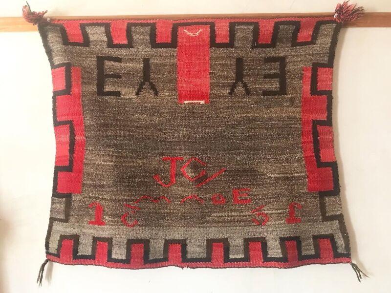 unusual old Navajo Native saddle blanket Rug