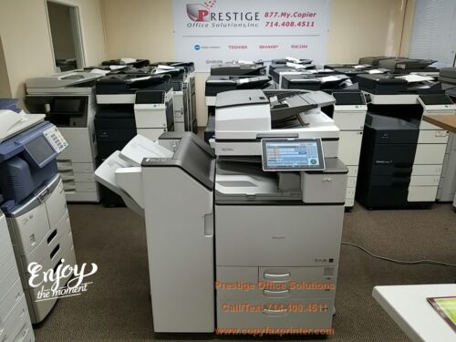 Ricoh MP C4504ex Copier Printer Scanner with Stapling Finisher. Meter only 57k