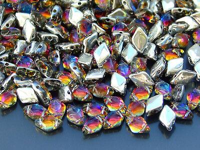 10g Czech GemDuo Twin Hole Beads 8x5mm Backlit Vapor