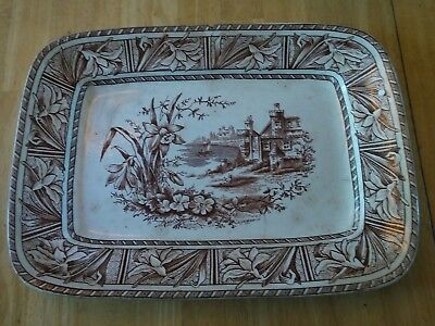 "Antique W H GrindleyBrown transferware ""Daffodil"" rectangle platter 1880's"