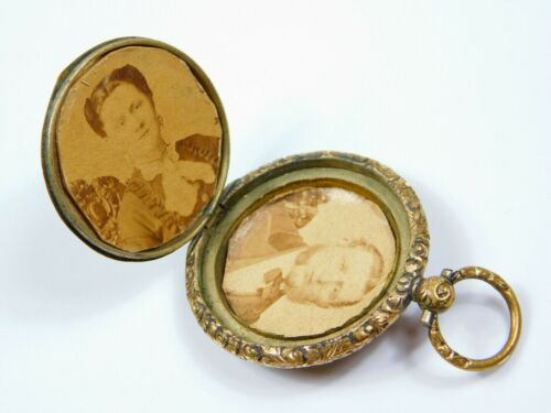 Antique Victorian Brass Etched Watch Shaped Locket w/Photos of Man & Woman