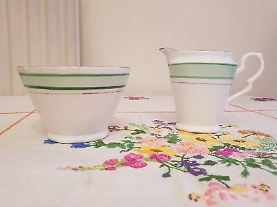 VINTAGE royal stafford Art deco green stripe Bone China Milk jug & sugar bowl