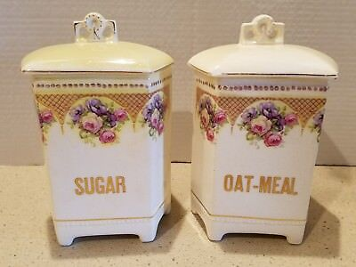 Vintage Luise Sugar & OatmeaL  Canister Made in Czechoslovakia - Flower Design