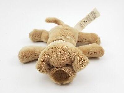 "Vintage Marks & Spencer Brown Puppy Dog Plush Plaid Collar Stuffed Animal 4.5"""