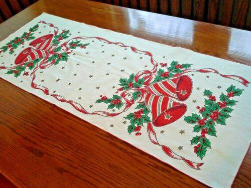 Vintage White Cotton CHRISTMAS TABLE RUNNER With Bells and Holly Design