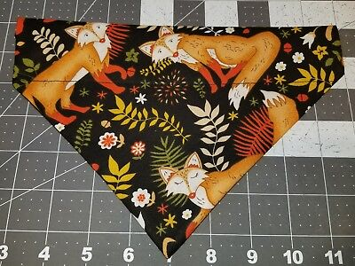- DOG BANDANA Sz XS-L Over Collar FOXES Leaves Fall Premium Wildlife Autumn Forest