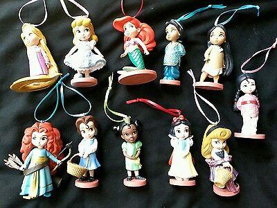 Disney Young Princess Animator Christmas Ornament set of 11 Ariel Belle Merida