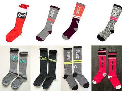 New Victorias Secret Pink Knee High Socks One Size Los Angeles Gray Neon Stripe - Neon Pink Knee High Socks