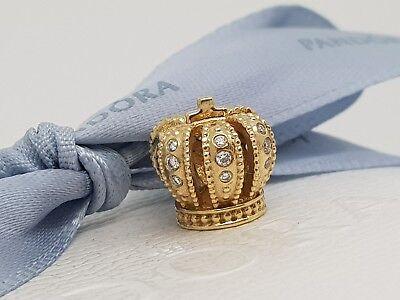 Diamond Crown Charm - Authentic Pandora Solid 14k Gold Majestic Diamond Crown Charm 750453D Retired