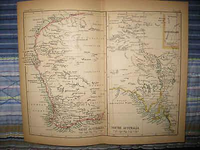 SUPERB ANTIQUE 1878 WEST & SOUTH AUSTRALIA COLOR LITHOGRAPH MAP DETAILED NR