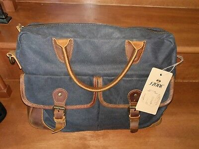 S-ZONE Vintage Look Canvas Leather 15.6