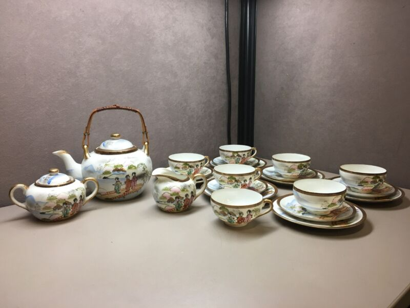 25 Piece Vintage Eggshell Porcelain Geisha Lithophane Japanese Tea Set