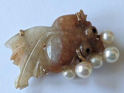 MING'S 14K Gold Jade Pearl Fish Pin Brooch Gold Jade Brooch