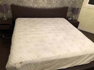 King size bed, mattress, side tables and lamps