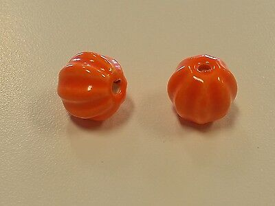 Handmade Bright Glazed Porcelain Pumpkin Beads,13x12mm, Hole: 2mm Jewelry (Bright Pumpkin)