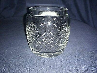 Vintage Cut Glass Preserve Pot. Wheel Cut. No Lid.