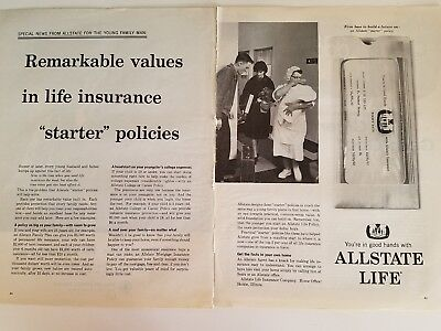 1961 Allstate Life Insurance Starter Policies Nurse New Baby Mom Dad Ad
