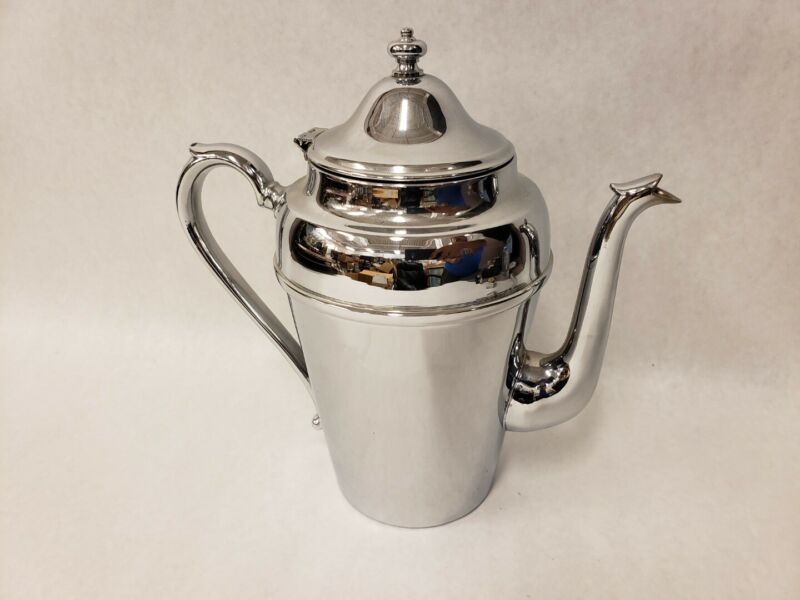 Vintage Cromwell Silver MFG Chromium Coffee Tea Pot Beverage Pitcher Mid Century
