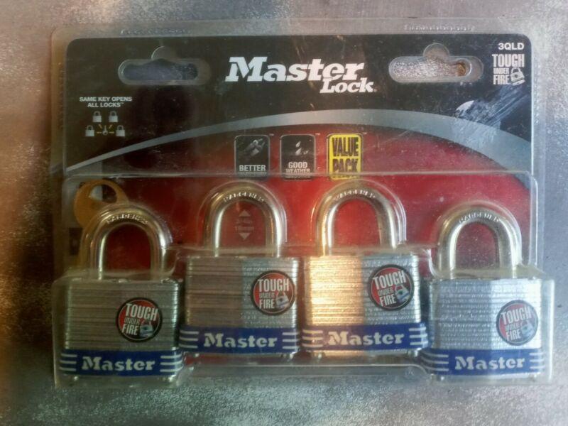 *MASTER LOCK 4 PACK ALL WORK W/ SAME KEY... Model #3QLD