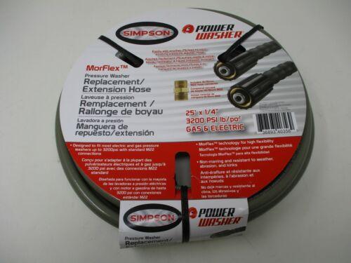"25' 1/4"" 3200 PSI Morflex Simpson Pressure Washer Hose 41107 Cold Water"