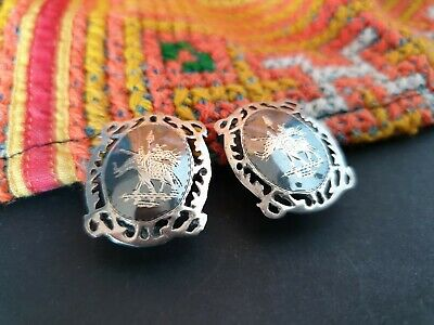 Antique 1920's Siam Sterling Silver & Black Enameled Clip on Earrings collection