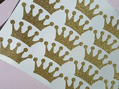 Glitter Gold Crown Stickers For Royal Its A Boy Prince Shower 20 Stickers