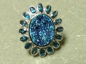 Sima K Cassiopeia Drusy and London Blue Topaz Sterling Silver Ring Size 7
