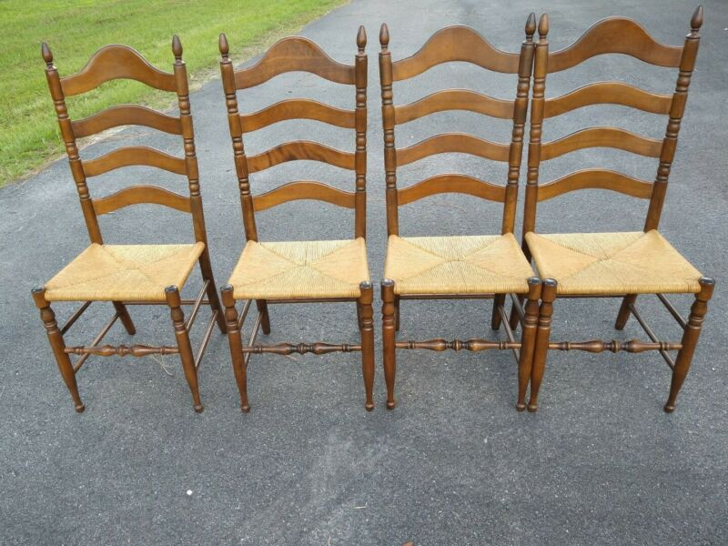 Vintage Rustic Farmhouse Ladder Back Dining Rush Seat Chairs Set of 4