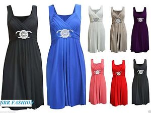 New-Women-Ladies-Short-Buckle-Evening-Prom-Maxi-Bridesmaid-Dress-Plus-Size-8-26