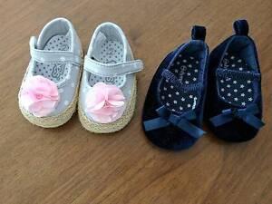 2 baby girl shoes navy blue velvet pink flower espadrilles ballet Potts Point Inner Sydney Preview